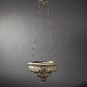 Expertissim - lampe de sanctuaire en laiton repoussé du xviiie  - Lampe Vasque