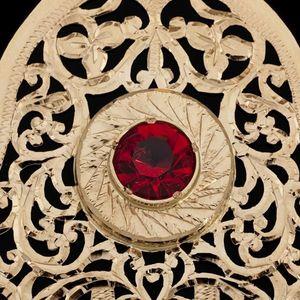Expertissim - pendentif en or et pierre rouge - Pendentif