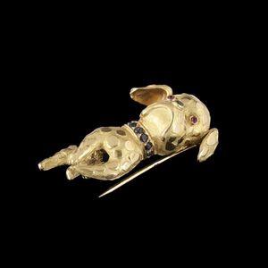 Expertissim - broche bouledogue anglais en or orn�e de saphirs, - Broche