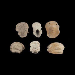 Expertissim - trois têtes de statuettes en céramique - Objet D'art Précolombien