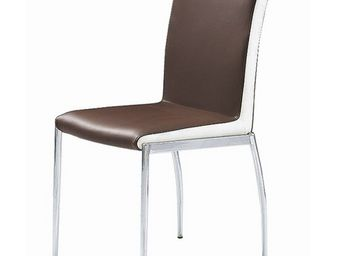 CLEAR SEAT - chaises marron et blanc simili cuir karmel lot de - Chaise Visiteur