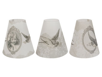 Mathilde M - 3 lampions coniques tendres pensées - Abat Jour