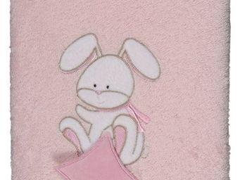 SIRETEX - SENSEI - carr� 100x100cm �ponge brod�e doudou rabbit rose - Serviette De Toilette Enfant