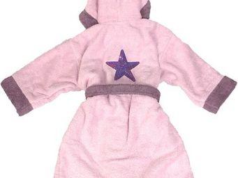 SIRETEX - SENSEI - peignoir enfant bicolore capuche brodé star - Peignoir Enfant