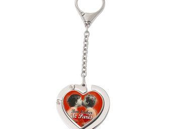Orval Creations - porte-sac coeur avec cha�nette bon baiser de paris - Accroche Sac