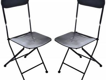 J-line - lot de 2 chaises pliantes en m�tal arezzo - Chaise Pliante