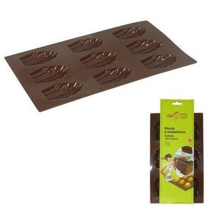 WHITE LABEL - moule à 9 madeleines 100% silicone collection tant - Moule À Tarte