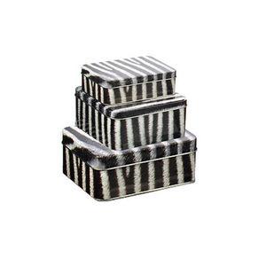 WHITE LABEL - 3 boîtes jungle motif zèbre en métal - Boite À Biscuits