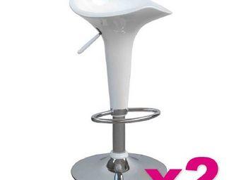 515store - lot de 2 tabourets de bar fiesta blanc - Chaise Haute De Bar