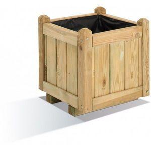 JARDIPOLYS - bac à fleur carre en bois 138 litres jardipolys - Bac À Fleurs