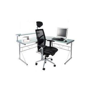 KOKOON DESIGN - bureau d'angle verre teinté blanc - Meuble Ordinateur