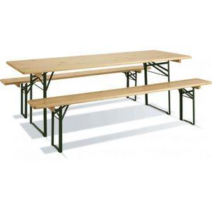 JARDIPOLYS - table de jardin bois et métal repliable - Table Pique Nique