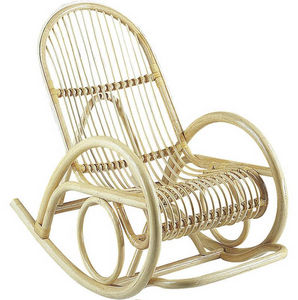 Aubry-Gaspard - fauteuil en manau écorcé verni rocking 60x108x92cm - Rocking Chair