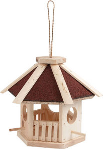 Aubry-Gaspard - mangeoire hexagonale en pin naturel avec toit en s - Mangeoire À Oiseaux