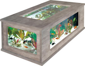 ZOLUX - table basse aquarium imitation béton ciré 100x63x5 - Table Basse Aquarium