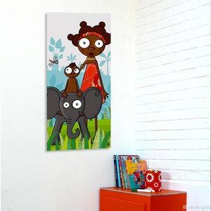 SERIE GOLO - toile imprimée eléphanteau 38x78cm - Tableau Décoratif Enfant