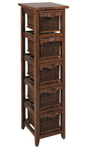 jardindeco - commode 5 tiroirs en pin et en bambou teint�s 30x3 - Colonne De Rangement Simple De Salle De Bains