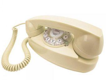 WHITE LABEL - téléphone princess crème - Téléphone Décoratif
