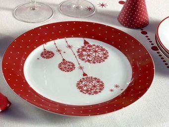 Interior's - assiette plate flocon no�l enchant� - Vaisselle De No�l Et F�tes
