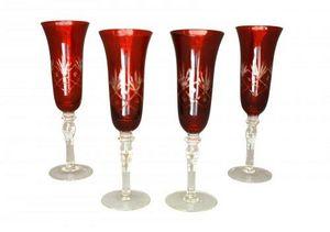 Demeure et Jardin - set de 4 flutes a champagne rouge - Flûte À Champagne