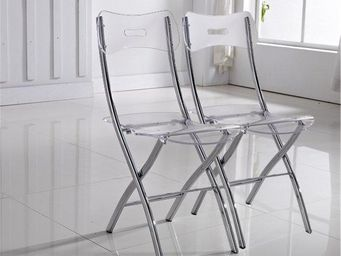 WHITE LABEL - lot de 2 chaises widow design en plexiglas transpa - Chaise Pliante