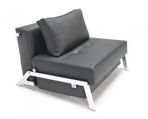INNOVATION - fauteuil lit design sofabed cubed tissu enduit noi - Fauteuil Bas