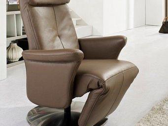 WHITE LABEL - adam fauteuil relax, cuir vachette marron - Fauteuil De Relaxation