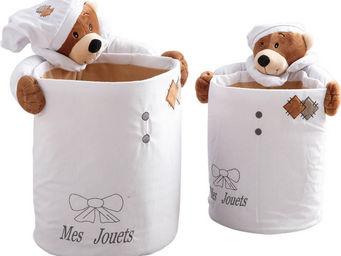 Aubry-Gaspard - 2 corbeilles rondes en coton mes jouets ourson - Meuble De Rangement Bas Enfant