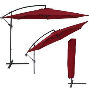 WHITE LABEL - parasol d�port� de 3,5 m bordeaux + housse - Parasol Excentr�