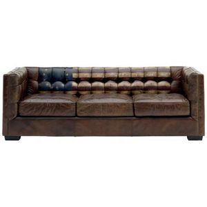 Mathi Design - canap� en cuir vieilli - Canap� Chesterfield