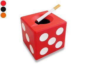 WHITE LABEL - cendrier dé à jouer rouge accessoire fumeur mégot  - Cendrier