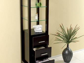 UsiRama.com - colonne de salle de bain design 152cm noir - Colonne De Rangement Simple De Salle De Bains