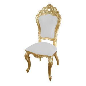 DECO PRIVE - chaise mariage baroque dor�e et blanche mod�le car - Chaise R�ception