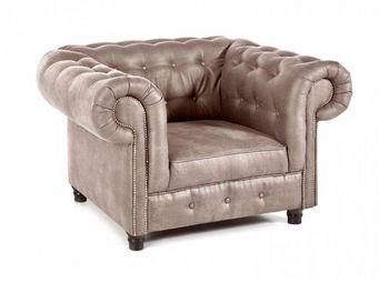 WHITE LABEL - fauteuil fixe oxford chesterfield beige cendré vin - Fauteuil Chesterfield