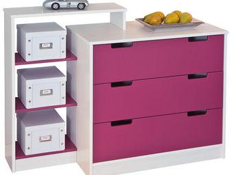 WHITE LABEL - commode enfant 3 tiroirs coloris blanc et rose ma - Commode Enfant