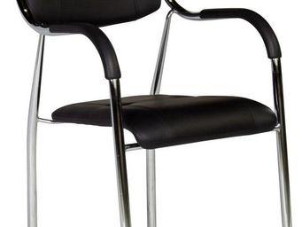 WHITE LABEL - chaise avec accoudoirs ultra moderne coloris noir - Chaise De Bureau