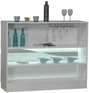 WHITE LABEL - meuble bar blanc laqué design led - Meuble Bar
