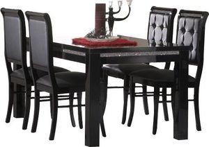 COMFORIUM - table à manger 190 cm noir + 4 chaises ultra desig - Salle À Manger