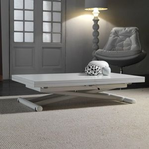 WHITE LABEL - table basse relevable extensible lift wood blanche - Table Basse Relevable