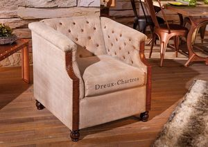 WHITE LABEL - fauteuil club dreux-chartres beige - Fauteuil Club