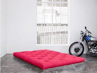 WHITE LABEL - matelas futon coco rose longueur couchage 200cm ép - Futon