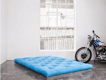 WHITE LABEL - matelas futon coco bleu azur 200*200*16cm - Futon