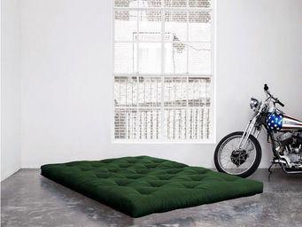 WHITE LABEL - matelas futon double latex vert 100*200*18cm - Futon
