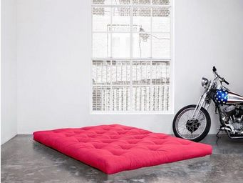 WHITE LABEL - matelas futon double latex rose 120*200*18cm - Futon