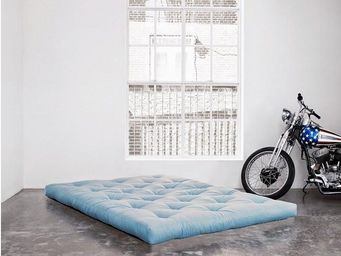 WHITE LABEL - matelas futon double latex bleu celeste 140*200*18 - Futon