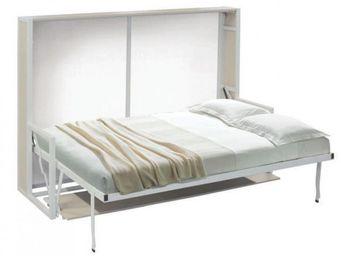WHITE LABEL - armoire lit transversale bdesk structure chêne faç - Armoire Lit
