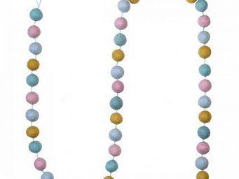 Lamali - guirlande boules feutres couleurs pastel - Guirlande