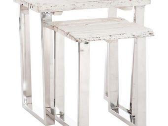 WHITE LABEL - set de 2 tables gigognes bois flotté blanc et méta - Tables Gigognes