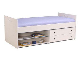 WHITE LABEL - lit à tiroirs 90*200 cm pin blanc - oggy - l 96 x - Lit Enfant