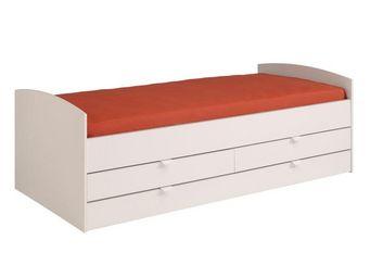 WHITE LABEL - lit gigogne à tiroirs rangement et tiroir couchage - Lit Enfant